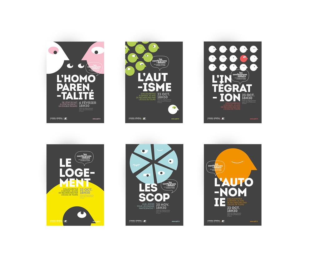 Série d'affiche créées pour le cycle de conférence